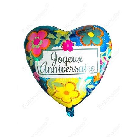 Ballon Métallique 18 Po Joyeux Anniversaire En Coeur Avec Fleurs