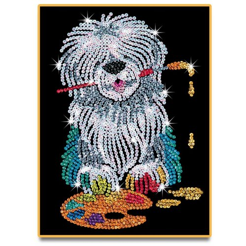 Sequin art velour chien de berger for Tableau en sequin